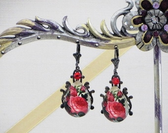 Blooming RED ROSES  Filigree and Glass Cabochon - Snow White EARRINGS