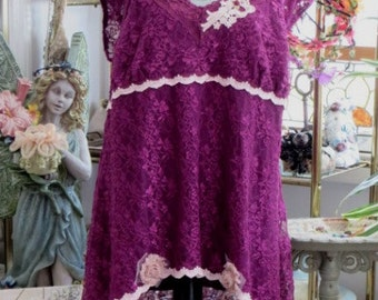 Burgundy WINE  Long TUNiC  Top -  Loose Gypsy BLOUSE - Upcycled with Lace and Flowers - Size 2XL - 3XL