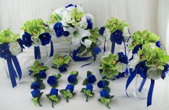 Items similar to Horizon Blue Royal Blue and Apple Green Bridal ...