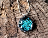 Real Turquoise Blue Flower Pendant, Black Glass Real Flower Necklace, Pressed Flower Pendant, Real Dried Flower