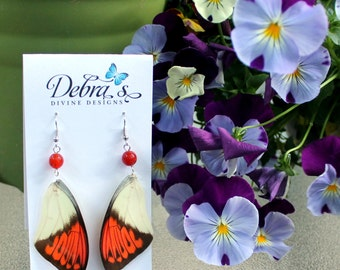 The Great Orange Tip Butterfly Wing Earrings with Orange Selenite Gemstone
