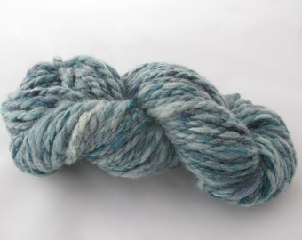 Handspun Shetland Merino Silk Yarn - Teal/Luxury Yarn/Bulky Yarn/Chunky Yarn/Blue Turquoise White