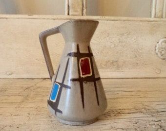 Mid Century Geometric Vase - Small Color Block Pottery - West Germany