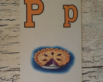 Alphabet Flash Card - Letter  P is for Pie 1950s Illustrated School Flash Card