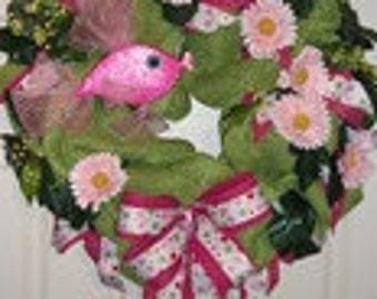 Green Paper Mesh Summer Wreath with a Pink Fish and Polka Dot/Hot Pink Ribbons