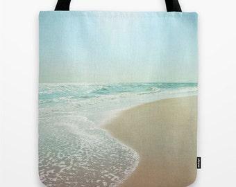 Beach Tote Bag, Sea Green Teal Beach Bag, Ocean Market Bag, Seascape Book Bag, Over the shoulder Sling Bag, Beach Carry Bag