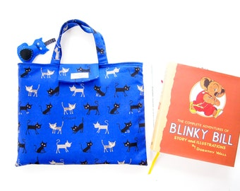 Cushy Library Tote Bag - Cats (Blue, Red or Black)