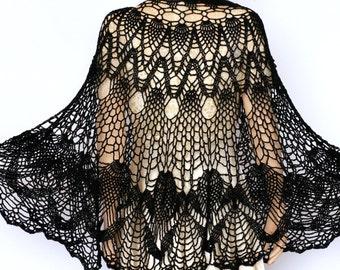 Black large shawl Black shawl Wraps Shawl Crocheted shawl wrap Women's Clothing Accessories crochet shawl