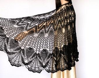 Black large shawl Black shawl Wraps Shawl Crocheted shawl wrap Women's Clothing Accessories