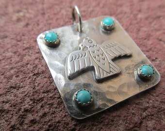 Little Thunderbird Turquoise Southwestern Sterling Silver Pendant Charm Cowgirl Western Necklace