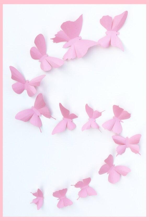 3D Wall Butterflies - 15 Light Pink 3D Wall Butterfly Silhouette Wall Art - Nursery - Home Decor