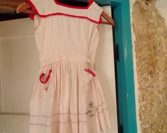 ANTIQUE 1950s CHILD'S  cotton DRESS, embroidered, ladybirds, flowers