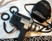 Canon Super 8 - 814 Movie Camera with Original Leather Carrying Case + Two Caps - Broken Outer Lens
