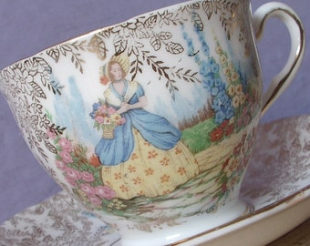 Antique 1930's Colclough Victorian woman in dress teacup and saucer, Antique tea cup, Southern belle tea cup, Gold & white china tea cup,