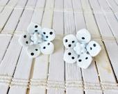 Vintage Polka-dot Flower Power Clip Earrings Black & White