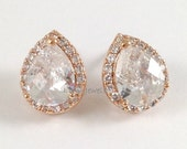 Rose Gold Earrings - Cubic Zirconia Teardrop Post Earrings - Sparkling Wedding Bridal Bridesmaids Prom Jewelry