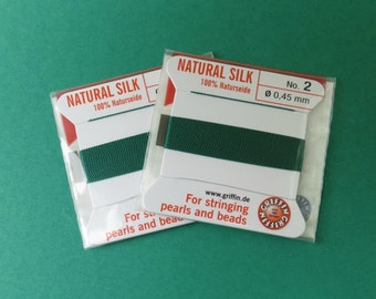 Natural Silk Cord With Needle - 2 packs - Size 2 - Green