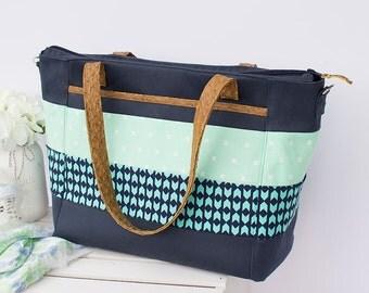 Classic Navy Striped Diaper Tote Bag