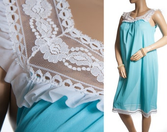 Delightful really sheer soft kingfisher blue nylon and delicate white lace and frill detail 1960's vintage mid length nightgown - 3290
