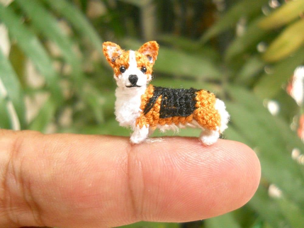 Mini Pembroke Welsh Corgi Amigurumi Crochet Tiny Dog Stuff