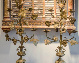Lg Antique Pr FRENCH Altar Candelabras, Four Arm, French Church, Religious, Grapes, Wheat, Leaves, Flowers