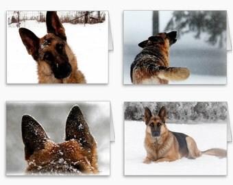 German Shepherd Stationery,German Shepherd Photography Note Cards,Gorgeous German Shepherd Cards,German Shepherd in Snow,Dog Photography