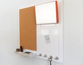 COMMAND CENTER: Wall Mount Magnetic White Board, Cork Board, Shelf, IPad Or
