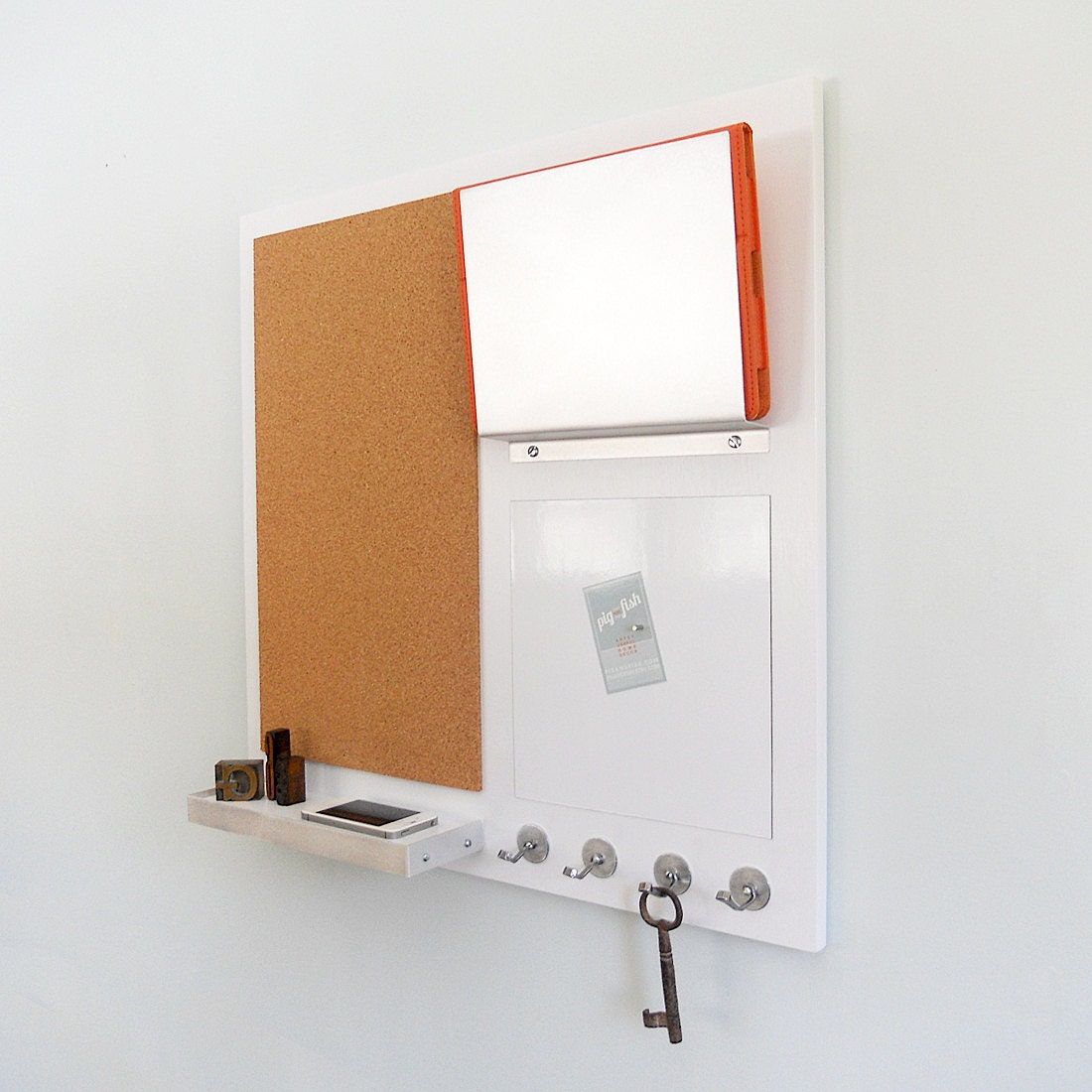 Command center wall mount magnetic white board cork board for Wall mail organizer with cork board
