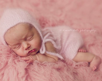 Angora Bonnet and Romper Set- Newborn Size- Photography Prop- YOU choose the color! 16 choices