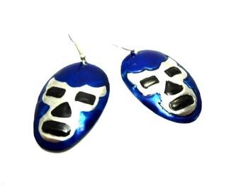 Blue Demon tin earrings