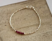 Sundance Style Stacking Bracelet - Hill Tribe Fine Silver and Tiny Faceted Rubies -