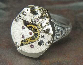 Women's Steampunk Ring - Vintage BRUSHED SILVER Watch Movement w/ Unique Bridges - Torch SOLDERED - Birthday, Anniversary Gift - Fine Design