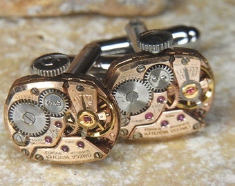 Steampunk Cufflinks Cuff Links - Torch SOLDERED - Antique ROSE Gold OMEGA Watch Movements - Wedding, Anniversary Gift - Amazing Set