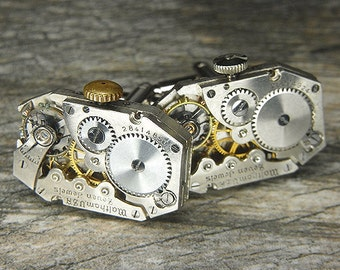 STEAMPUNK Cufflinks Cuff Links - Torch SOLDERED - Antique Silver WALTHAM Octagonal Watch Movements  - Wedding, Anniversary - Ultra Masculine