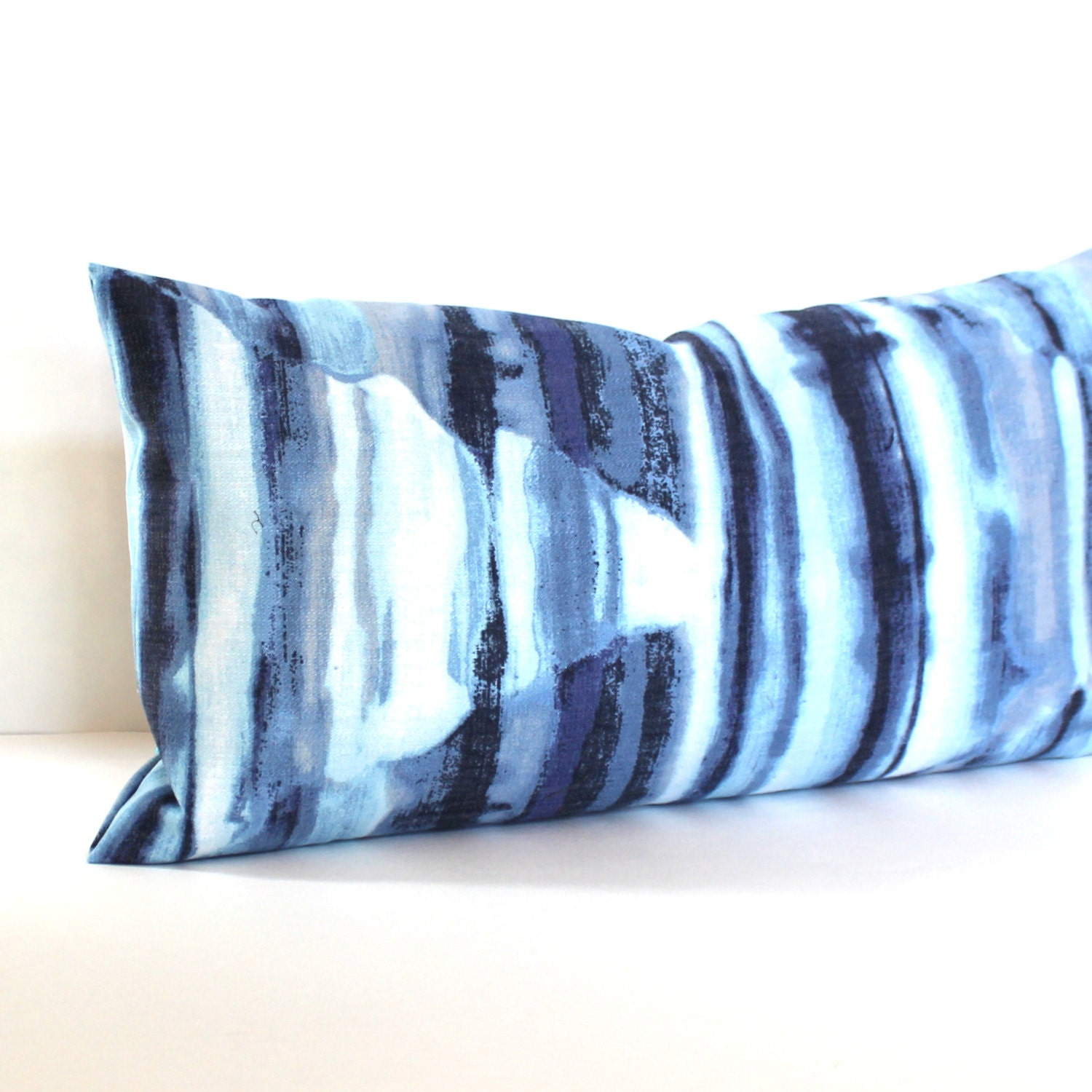 Blue Lumbar Throw Pillow : Lumbar Pillow Cover Blue Ombre Decorative Pillow by couchdwellers