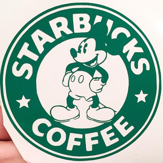 Mickey Starbucks Coffee Logo Decal By 3rddegreelaser On Etsy