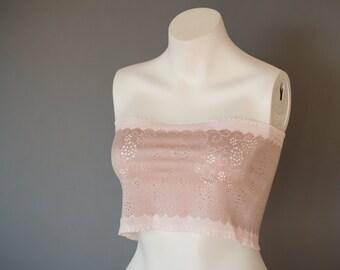 Lace Bandeau Top Lace Camisole Lingerie Tube Top Strapless Top Lace Bralette Bandeau Bra Pink