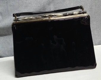 Vintage black patent leather handbag purse lucite Theodor
