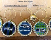 Set of 6 UNIQUE Seattle Seahawks inspired wine glass charms for the wine lover in your life....