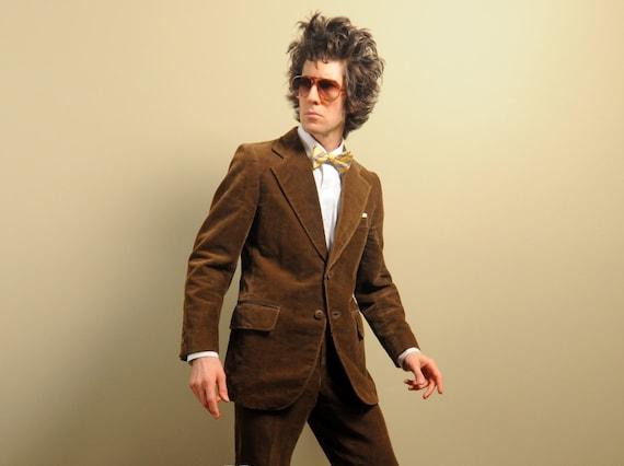 70s mens vintage corduroy suit mens brown suit 1970 Cortefiel