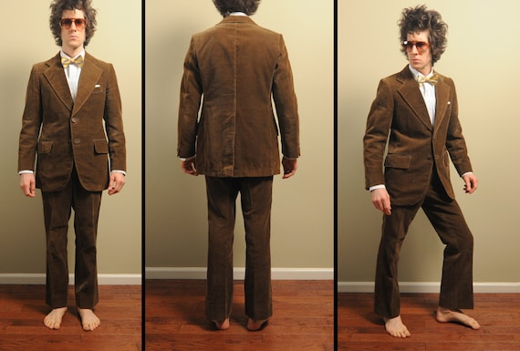 70s mens vintage corduroy suit mens brown by CarnivalOfTheManiac