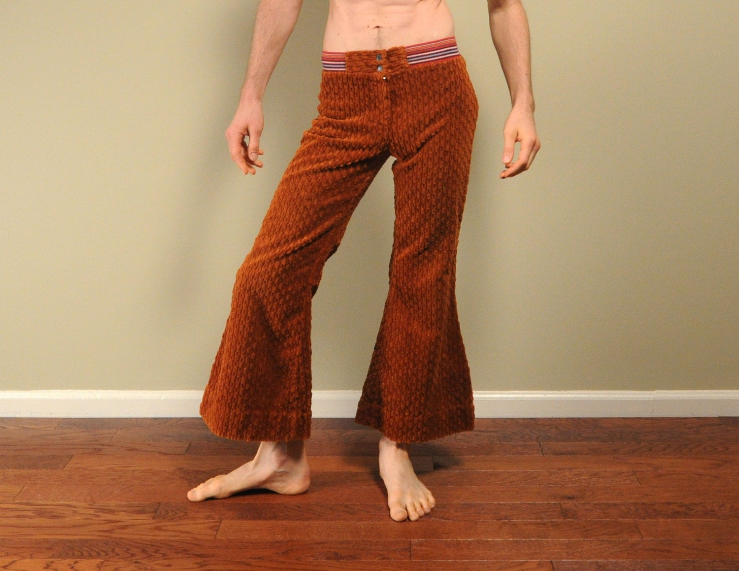 60s vintage bellbottom corduroy flare pants wide wale cord