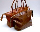 Leather Tote, Brown Leather Tote, Travel Bag, Weekender, Atlas Collection Italian Leather