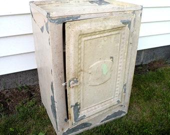 Antique Bread Box Cabinet- Custom Metal Cabinet- Chippy- Salvage Repurpose
