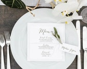 Wedding Reception Dinner Menu, Printable Wedding Dinner Menu, Simple Elegant Dinner Menu for your Special Event