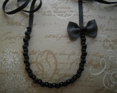 SALE Bow necklace - Ribbon necklace with bow - Black necklace with grey bow and black glass pearls