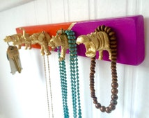 Key Holder // Hanging Jewelry Holder // Gold Animal Wall Hooks // Poppy Red and Violet