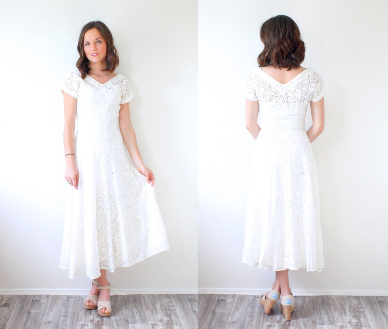 Vintage modest lace wedding dress short sleeve tea length