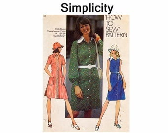 Shirt tail Dress and Hat 1970s UNCUT Sewing Pattern Size 16 Bust 38 Simplicity 5464 How to Sew Pattern Misses Dress 70s pattern