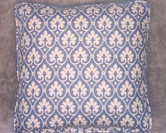 Blue Lattice Throw Pillow : French Blue Floral Lattice Throw Pillow 18